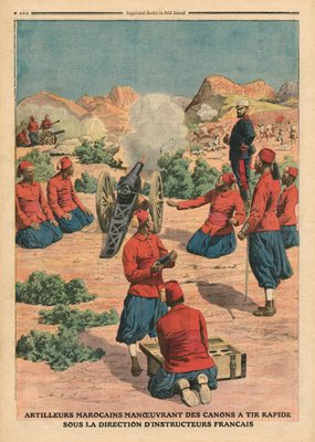 Moroccan artillerymen using cannons under the command of French instructors, illustration from 'Le Petit Journal', supplement illustre, 26th March 1911 Fine Art Print by French School