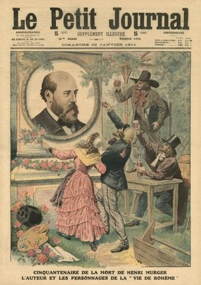 Fiftieth anniversary of the death of Henri Murger, the author and the characters of 'La Vie de Boheme', illustration from 'Le Petit Journal', supplement illustre, 29th January 1911 (colour litho) Fine Art Print by French School