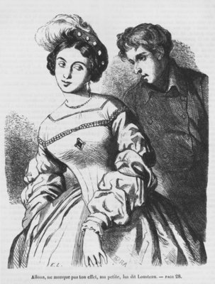 Etienne Lousteau speaking to an actress, illustration from 'Les Illusions perdues' by Honore de Balzac Poster Art Print by French School