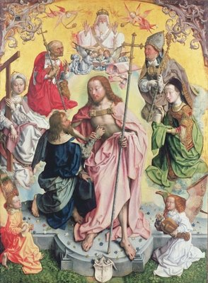 Central panel from the St. Thomas Altarpiece, 1501, Christ and Saint Thomas surrounded by St.Helena, Mary Magdalena, St.Jerome and St.Ambrose Poster Art Print by Master of St. Bartholemew