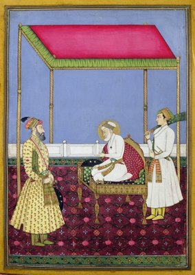 The Emperor Aurangzeb in old age seated on a throne, miniature from a Muraqqa album, early eighteenth century Fine Art Print by Indian School