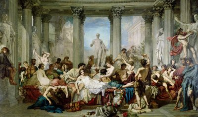 The Romans of the Decadence, 1847 (oil on canvas) Postcards, Greetings Cards, Art Prints, Canvas, Framed Pictures, T-shirts & Wall Art by Thomas Couture