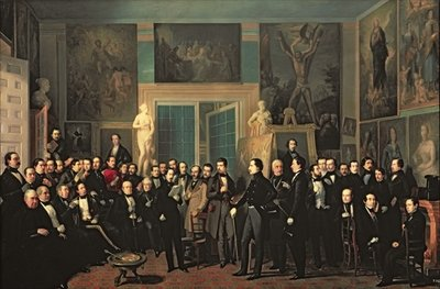 The Gathering of the Poets, 1846 (oil on canvas) Wall Art & Canvas Prints by Antonio Maria Esquivel