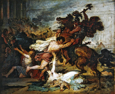 Sketch of The Ransack of Jerusalem by the Romans, 1824 (oil on canvas) Fine Art Print by Francois Joseph Heim