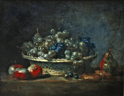 Still life: grape basket with three apples, a pears and two marzipans, 1764 Fine Art Print by Jean-Baptiste Simeon Chardin