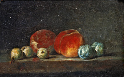 Peaches, Pears and Plums on a table Fine Art Print by Jean-Baptiste Simeon Chardin