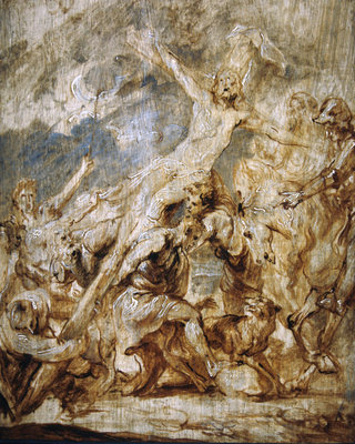 Sketch of the lifting of the cross, 1630 Fine Art Print by Sir Anthony van Dyck