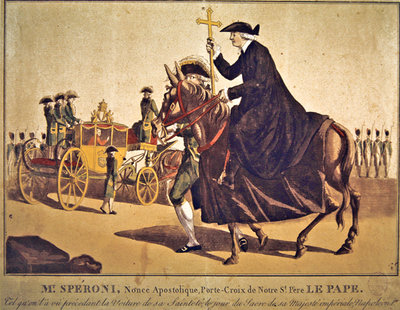 Monsignor Speroni carrying the papal cross, precedes Pope Pius VII on their way to Notre-Dame Cathedral, Paris, for the coronation of Emperor Napoleon and Empress Josephine on 3 November 1804 (coloured engraving) Postcards, Greetings Cards, Art Prints, Canvas, Framed Pictures, T-shirts & Wall Art by French School