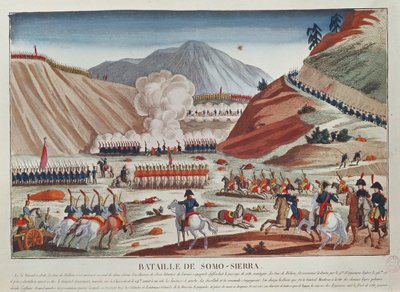 Battle of Somosierra on 30 November 1808 (colour litho) Fine Art Print by French School