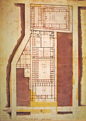 Plan of the Grande and Petite Force prison, rue du Roi de Sicile, Paris (ink & wash on paper) Fine Art Print by French School