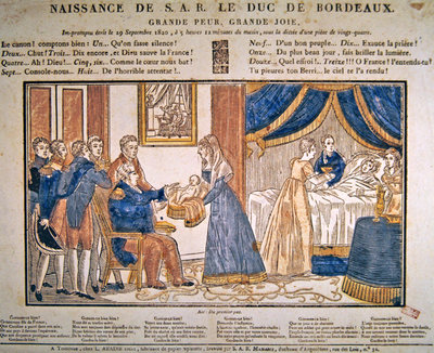 The birth of Henri Charles Ferdinand Marie Dieudonne de France, Duc de Bordeaux, Comte de Chambord on 29 September, 1820 (coloured wood engraving) Wall Art & Canvas Prints by French School
