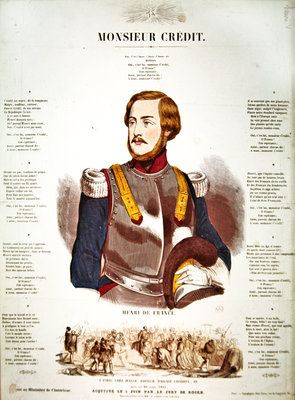 'Monsieur Credit', French Royalist propaganda eulogising Henri Charles Ferdinand Marie Dieudonne de France, Duc de Bordeaux, Comte de Chambord (litho) Wall Art & Canvas Prints by French School