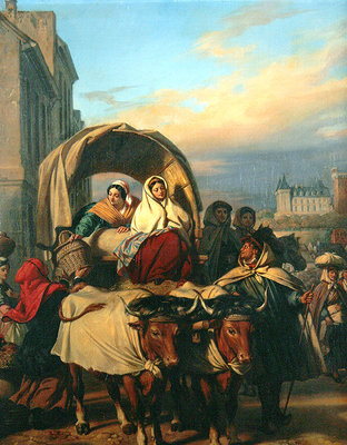 Returning to the Pau Market, 1860 (oil on canvas) Fine Art Print by Eugene Deveria