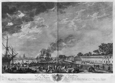 Port of Rochefort, seen from the colonies' store, series of 'Les Ports de France', engraved by Charles Nicolas Cochin the Younger (1715-90) and Jacques Philippe Le Bas (1707-83) 1767 (etching & burin) Wall Art & Canvas Prints by Claude Joseph Vernet