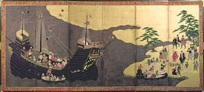 Arrival of the Portuguese in Japan in 1640 (gouache on paper) Wall Art & Canvas Prints by Japanese School