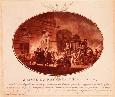 The Arrival of the King in Paris on 6th October 1789 (aquatint) Fine Art Print by Laurent Guyot