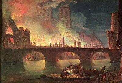 A Fire at the Hotel-Dieu in 1772 (oil on canvas) Fine Art Print by Jean Baptiste Genillion