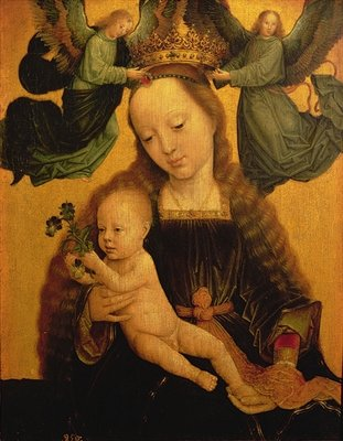 Madonna and Child Crowned by Two Angels, c.1520 Fine Art Print by Gerard David