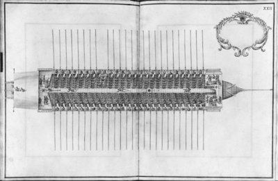 Building, equipping and launching of a galley, view from above of a galley, plate XXII (pencil & w/c on paper) (b/w photo) Fine Art Print by French School