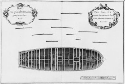 Plan of a vessel, illustration from the 'Atlas de Colbert', plate 16 (pencil & w/c on paper) (b:w photo) Wall Art & Canvas Prints by French School