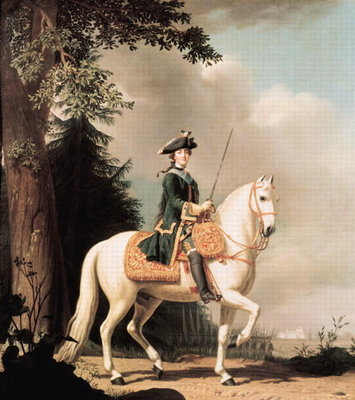 Equestrian Portrait of Catherine II (1729-96) the Great of Russia (oil on canvas) Wall Art & Canvas Prints by Vigilius Erichsen