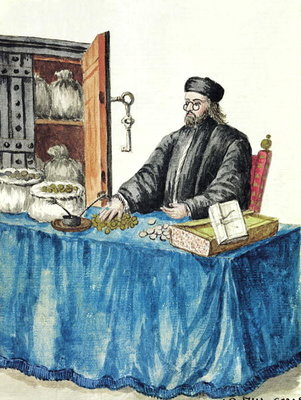 Venetian Moneylender, from an illustrated book of costumes (w/c on paper) Fine Art Print by Jan van Grevenbroeck