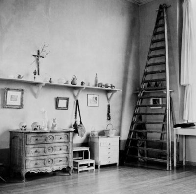 Interior of Cezanne's studio at Aix-en-Provence, c.1900-02 (b/w photo) Wall Art & Canvas Prints by French Photographer