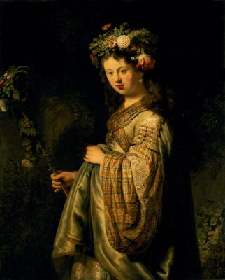 Saskia as Flora, 1634 (oil on canvas) Postcards, Greetings Cards, Art Prints, Canvas, Framed Pictures, T-shirts & Wall Art by Rembrandt Harmensz. van Rijn
