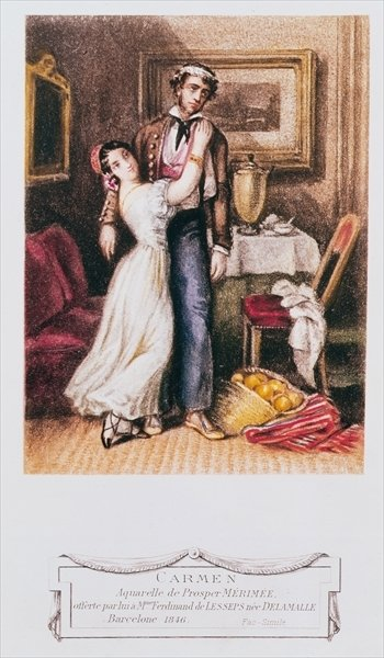Carmen and Don Jose, 1846 (litho) Postcards, Greetings Cards, Art Prints, Canvas, Framed Pictures & Wall Art by Prosper Merimee