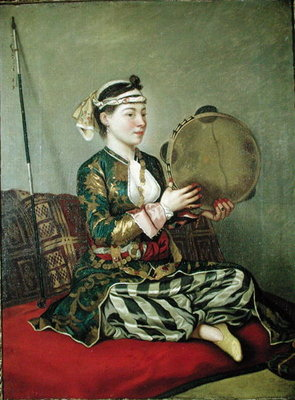 Turkish Woman with a Tambourine Fine Art Print by Jean-Etienne Liotard
