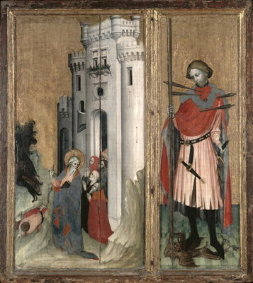 St. Andrew Chasing Demons from the Town of Nicaea and St. Sebastian, right hand panel of the Thouzon altarpiece, School of Provence Poster Art Print by French School