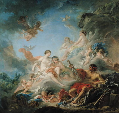 The Forge of Vulcan, or Vulcan presenting arms for Aeneas to Venus, tapestry cartoon, 1757 Fine Art Print by Francois Boucher