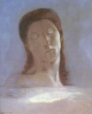 The Closed Eyes, 1890 (oil on paper) Fine Art Print by Odilon Redon