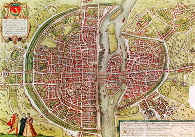Map of Paris from 'Civitates orbis terrarrum' by Georg Braun Fine Art Print by Georg Braun