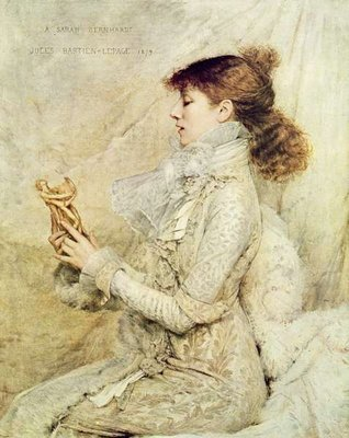 Portrait of Sarah Bernhardt (1844-1923) 1879, taken from 'Illustration' magazine, 13th May 1922 (colour litho) Wall Art & Canvas Prints by Jules Bastien-Lepage