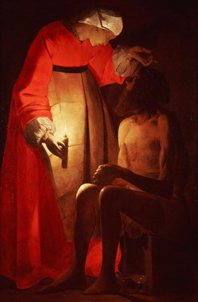Job Mocked by His Wife (oil on canvas) Fine Art Print by Georges de la Tour