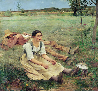 The Haymakers, 1877 (oil on canvas) Postcards, Greetings Cards, Art Prints, Canvas, Framed Pictures, T-shirts & Wall Art by Jules Bastien-Lepage