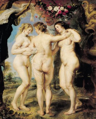 The Three Graces, c.1636-39 (oil on canvas) Fine Art Print by Peter Paul Rubens