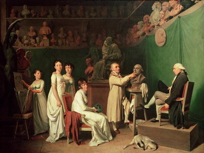 Jean Antoine Houdon (1741-1828) Sculpting the Bust of Pierre Simon (1749-1827) Marquis de Laplace in the Presence of his Wife and Daughters, 1804 (oil on canvas) Wall Art & Canvas Prints by Louis Leopold Boilly
