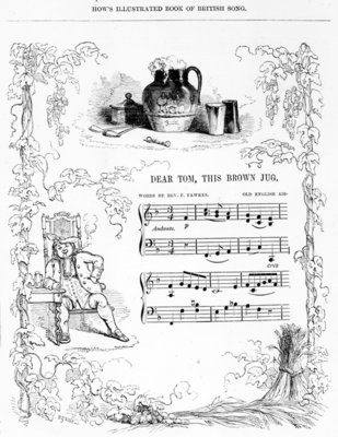 Dear Tom, This Brown Jug that now foams with mild ale..., song sheet from How's illustrated Book of British song (lithograph) Fine Art Print by English School
