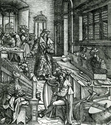 History of Music, from the novel 'Der Weisskunig' in praise of his emperor Maximilian I (woodcut) Fine Art Print by Hans Burgkmair