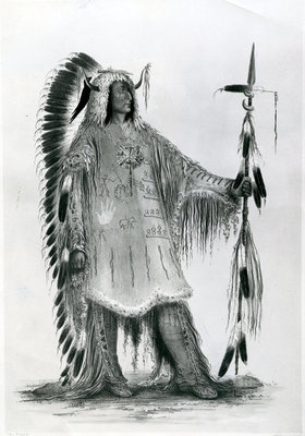 Mato-Tope, second chief of the Mandan people in 1833 (litho) Wall Art & Canvas Prints by George Catlin