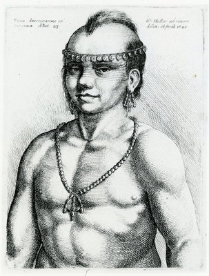 Virginian Indian from 'Hollar's Foreign Portraits', 1645 (engraving) Wall Art & Canvas Prints by Wenceslaus Hollar