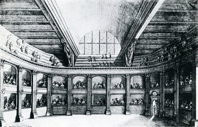 The Theatre of Jacob van Campen see from the stage, 1658 (engraving) Wall Art & Canvas Prints by Dutch School