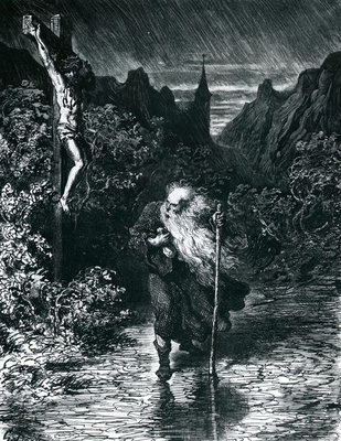 The Wandering Jew (engraving) Wall Art & Canvas Prints by Gustave Dore