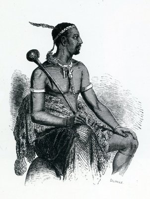 King Moshoeshoe I (c.1786-1870) 1833 (engraving) Wall Art & Canvas Prints by French School