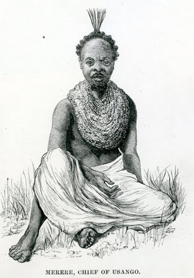 Merere, chief of the Usango from 'Travels in Africa', 1879 (engraving) Wall Art & Canvas Prints by English School