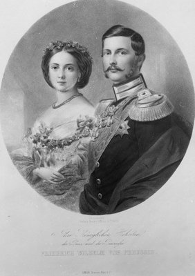 Wedding Portrait of Their Royal Highnesses Princess Victoria (1840-1901) and Crown Prince Frederick William of Prussia (1831-88) 25th January 1858, engraved by Carl Sussnapp (litho) (b&w photo) Fine Art Print by German School