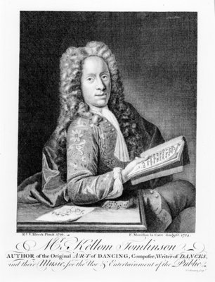 Mr Kellom Tomlinson, author of the original 'Art of Dancing'. engraved by Francois Morellon La Cave (fl.1731), 1754 (engraving) (b&w photo) Wall Art & Canvas Prints by Richard van Bleeck