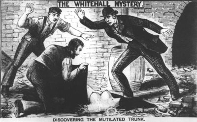 The Whitehall Mystery: Discovering the Mutilated Trunk, 1888 Fine Art Print by English School